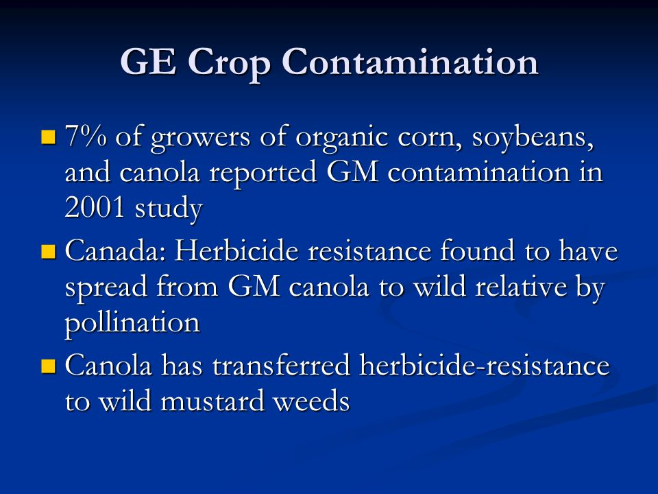 GE Crop Contamination 7% of growers of organic corn, soybeans, and canola reported GM contamination in 2001 study 7% of growers of organic corn, soybeans, and canola reported GM contamination in 2001 study Canada: Herbicide resistance found to have spread from GM canola to wild relative by pollination Canada: Herbicide resistance found to have spread from GM canola to wild relative by pollination Canola has transferred herbicide-resistance to wild mustard weeds Canola has transferred herbicide-resistance to wild mustard weeds