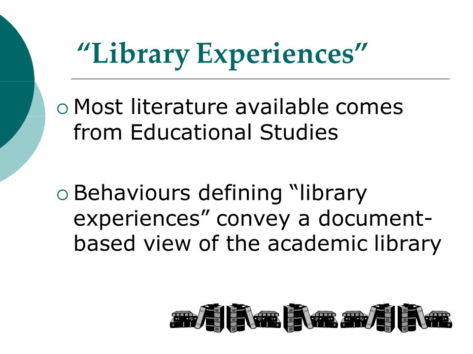 Library Experiences  Most literature available comes from Educational Studies  Behaviours defining library experiences convey a document- based view of the academic library