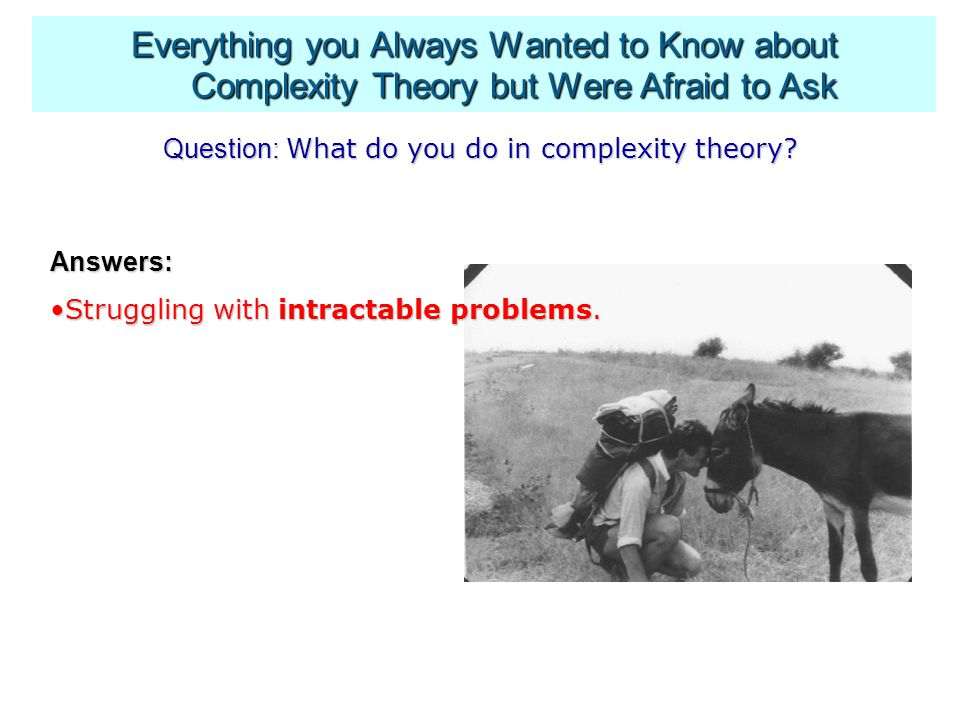 Question: What do you do in complexity theory.