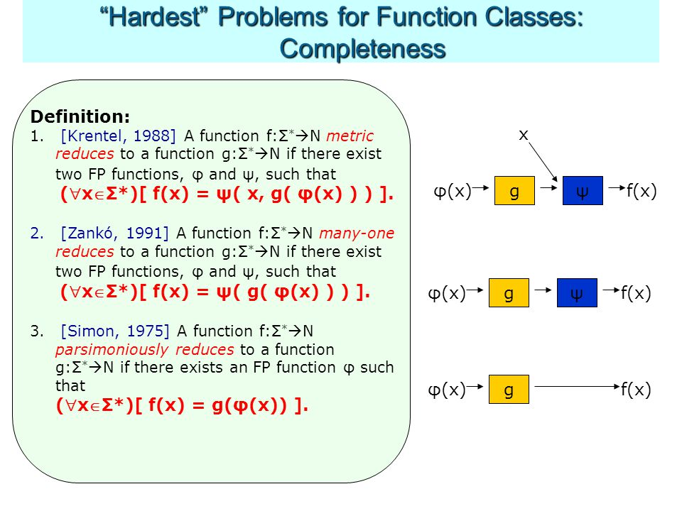 Hardest Problems for Function Classes: Completeness φ(x) Definition: 1.