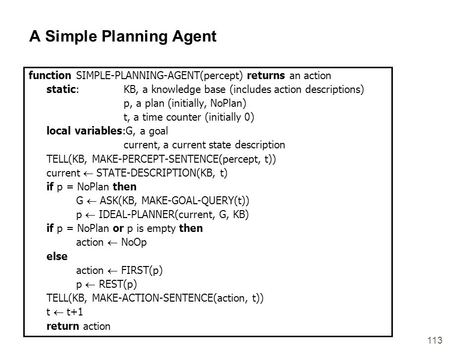 113 A Simple Planning Agent function SIMPLE-PLANNING-AGENT(percept) returns an action static: KB, a knowledge base (includes action descriptions) p, a