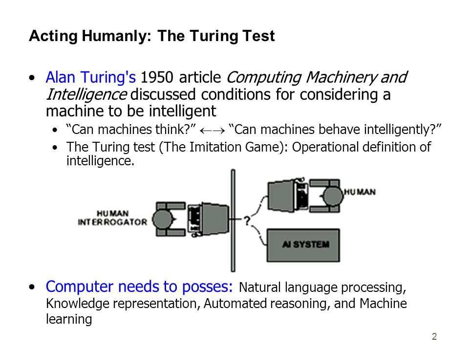 2 Acting Humanly: The Turing Test Alan Turing's 1950 article Computing Machinery and Intelligence discussed conditions for considering a machine to be