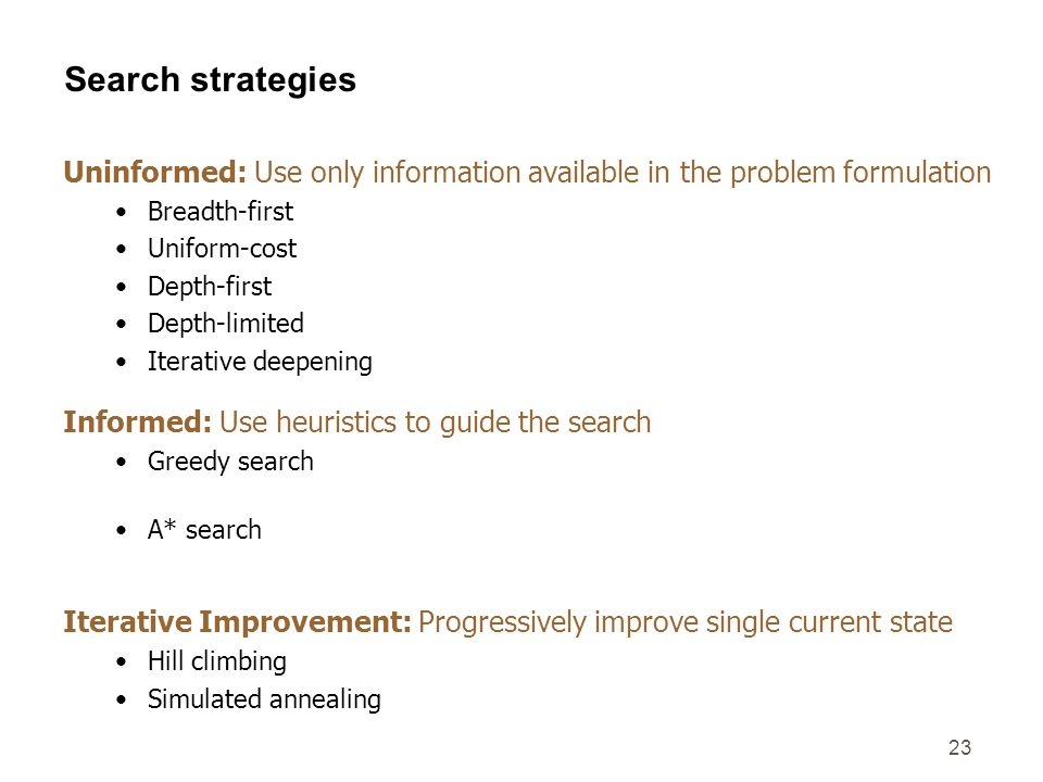 23 Search strategies Uninformed: Use only information available in the problem formulation Breadth-first – expand shallowest node first; successors at