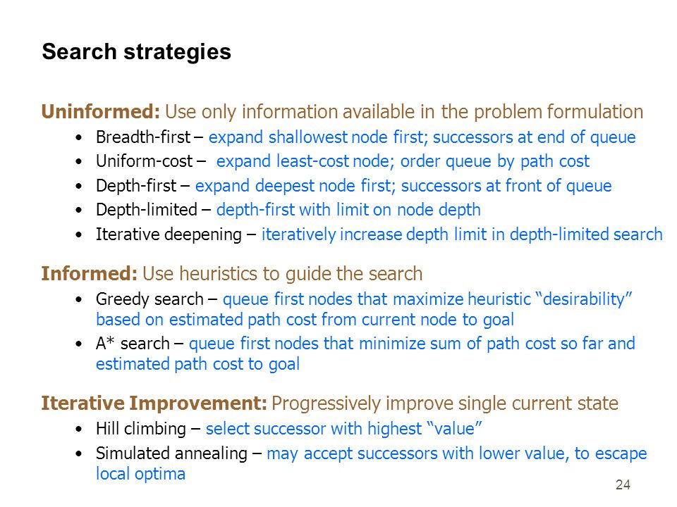 24 Search strategies Uninformed: Use only information available in the problem formulation Breadth-first – expand shallowest node first; successors at