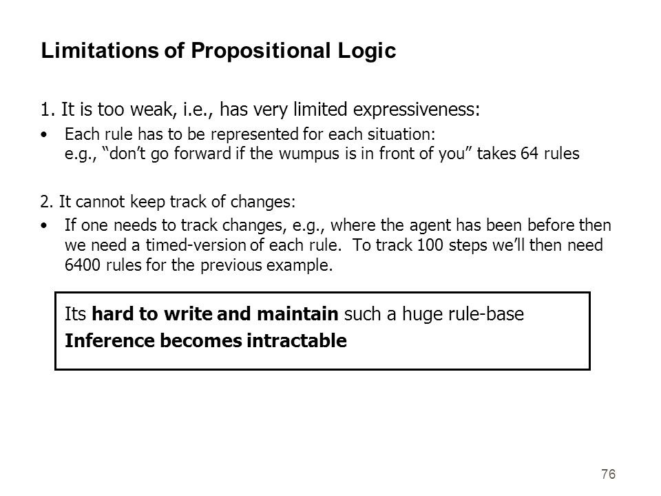 76 Limitations of Propositional Logic 1. It is too weak, i.e., has very limited expressiveness: Each rule has to be represented for each situation: e.