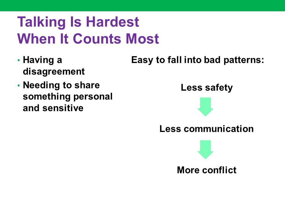 Talking Is Hardest When It Counts Most Having a disagreement Needing to share something personal and sensitive Easy to fall into bad patterns: Less safety Less communication More conflict