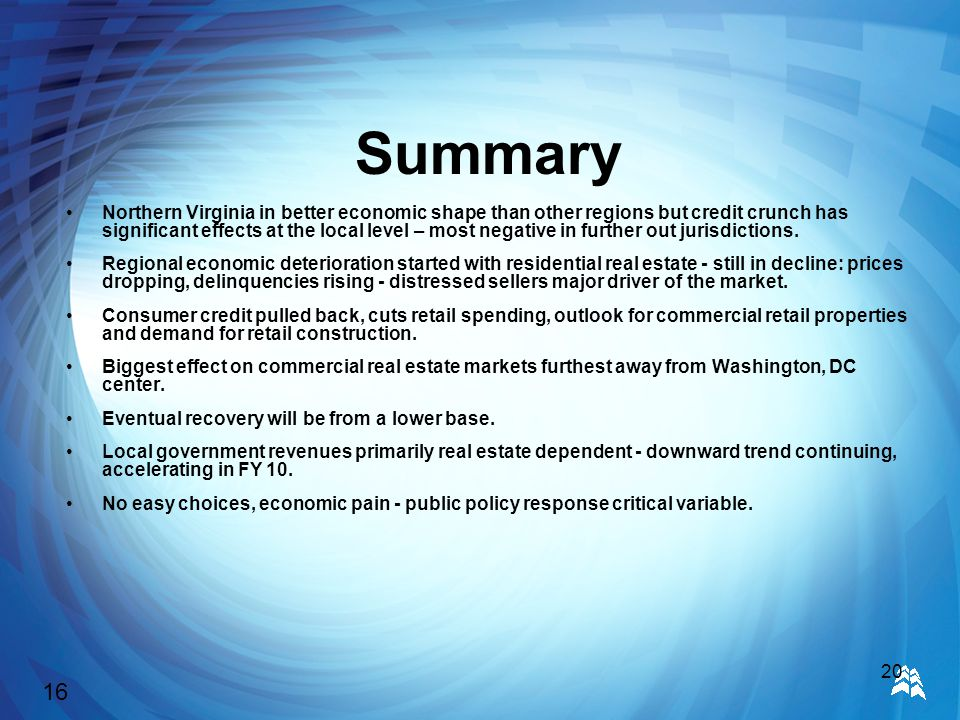 20 Summary Northern Virginia in better economic shape than other regions but credit crunch has significant effects at the local level – most negative in further out jurisdictions.