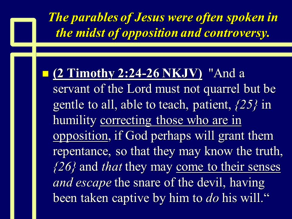 Parables Exposing self-righteousness n (Romans 10:1-2 NKJV) Brethren, my heart s desire and prayer to God for Israel is that they may be saved.