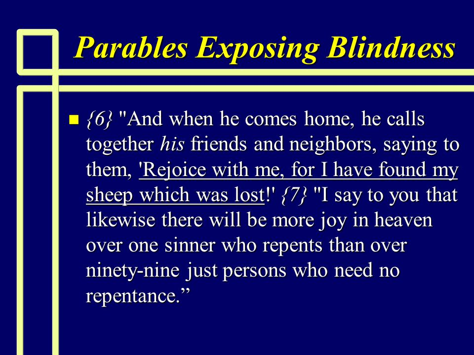 Parables Exposing Blindness n {6}