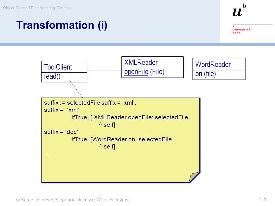 © Serge Demeyer, Stéphane Ducasse, Oscar Nierstrasz Object-Oriented Reengineering Patterns 120 Transformation (i) ToolClient read() XMLReader openFile (File) WordReader on (file) suffix := selectedFile suffix = 'xml'.