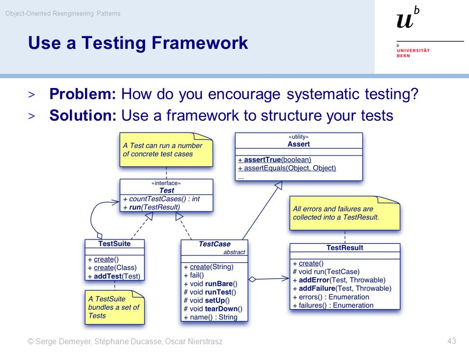 © Serge Demeyer, Stéphane Ducasse, Oscar Nierstrasz Object-Oriented Reengineering Patterns 43 Use a Testing Framework  Problem: How do you encourage
