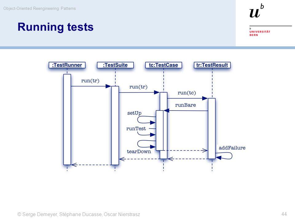 © Serge Demeyer, Stéphane Ducasse, Oscar Nierstrasz Object-Oriented Reengineering Patterns 44 Running tests