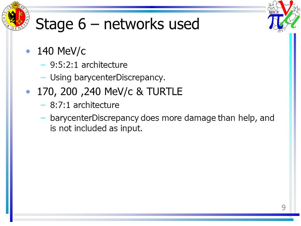 9 Stage 6 – networks used 140 MeV/c –9:5:2:1 architecture –Using barycenterDiscrepancy.