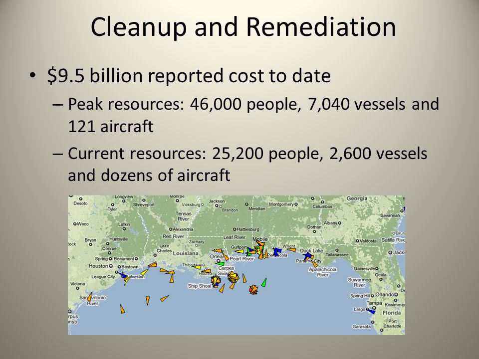 Cleanup and Remediation 10/28/201017 $9.5 billion reported cost to date – Peak resources: 46,000 people, 7,040 vessels and 121 aircraft – Current resources: 25,200 people, 2,600 vessels and dozens of aircraft