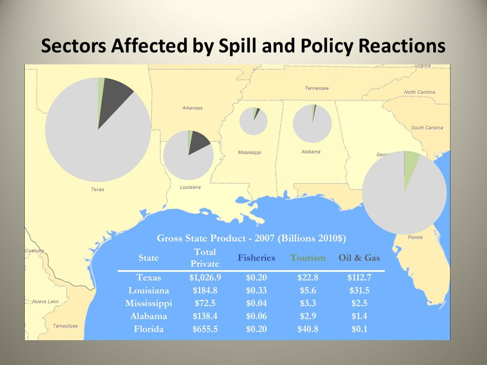 Sectors Affected by Spill and Policy Reactions
