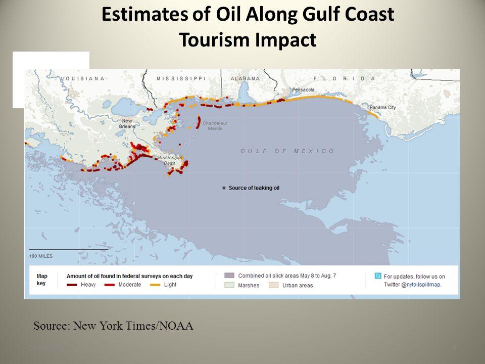 Estimates of Oil Along Gulf Coast Tourism Impact 10/28/20109 Source: New York Times/NOAA
