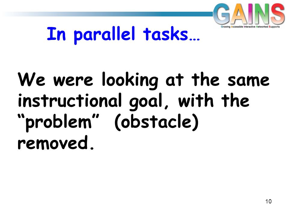 In parallel tasks… We were looking at the same instructional goal, with the problem (obstacle) removed.