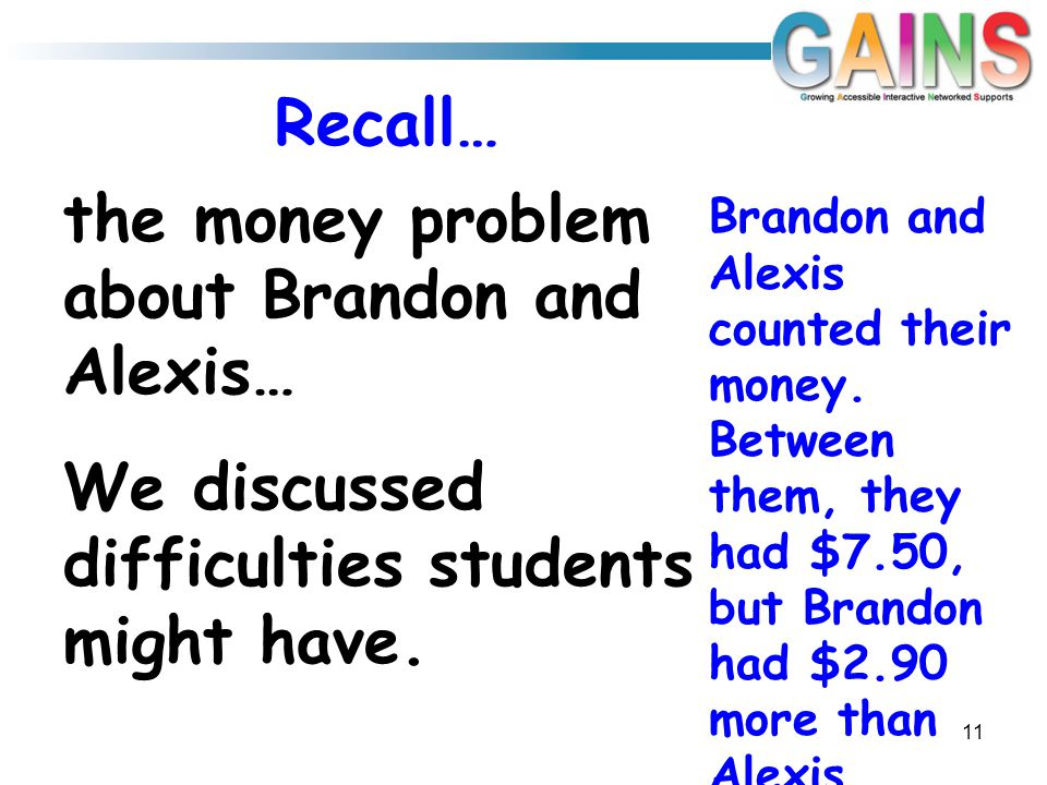 Recall… the money problem about Brandon and Alexis… We discussed difficulties students might have.