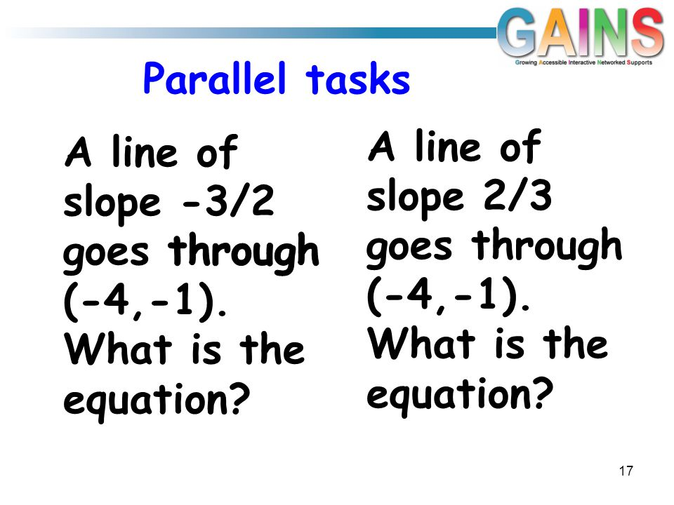 Parallel tasks A line of slope 2/3 goes through (-4,-1). What is the equation 17
