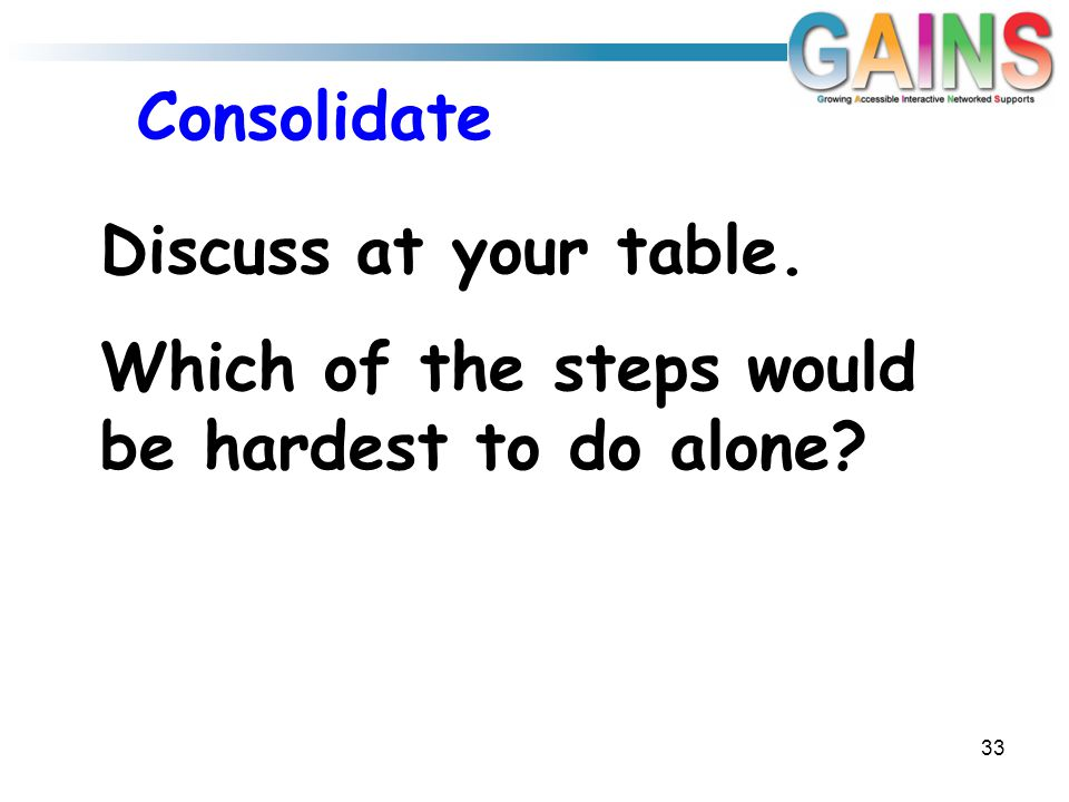 Consolidate 33 Discuss at your table. Which of the steps would be hardest to do alone