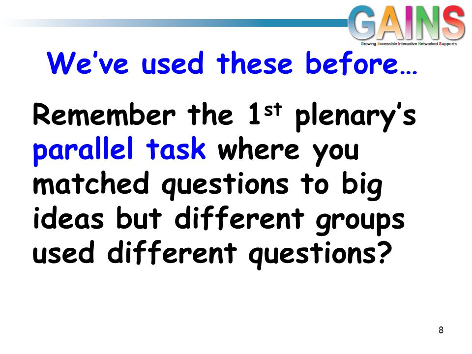 Remember the 1 st plenary's parallel task where you matched questions to big ideas but different groups used different questions.