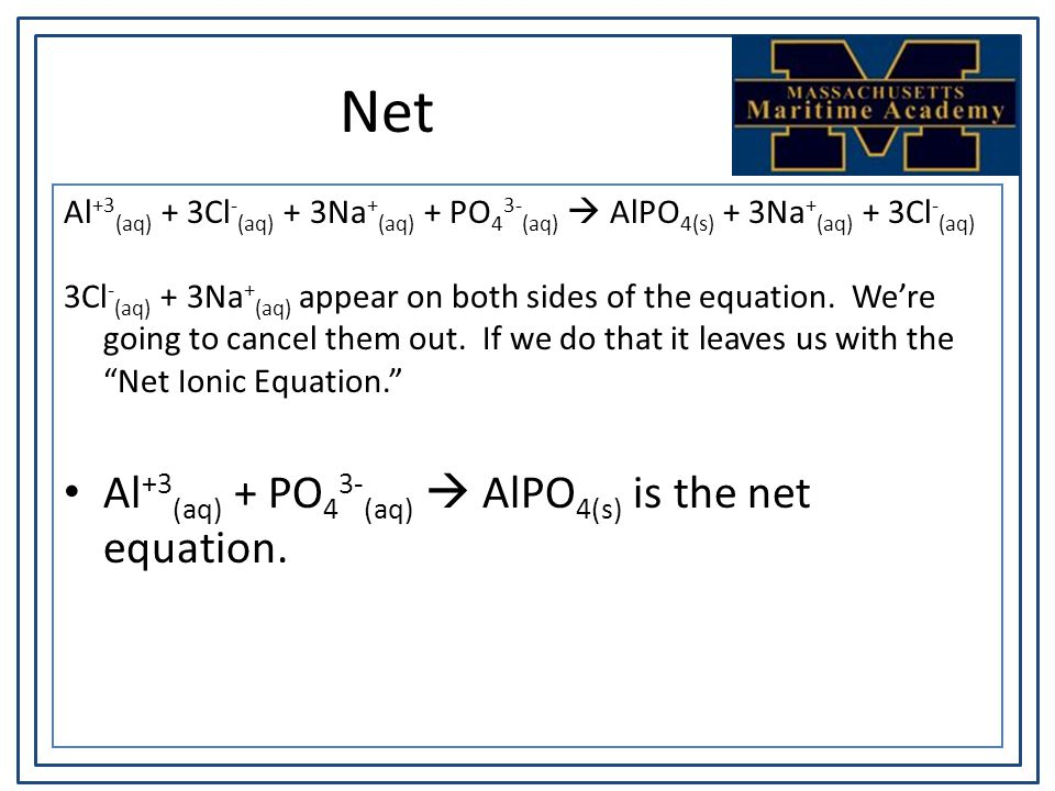 Net Al +3 (aq) + 3Cl - (aq) + 3Na + (aq) + PO 4 3- (aq)  AlPO 4(s) + 3Na + (aq) + 3Cl - (aq) 3Cl - (aq) + 3Na + (aq) appear on both sides of the equation.