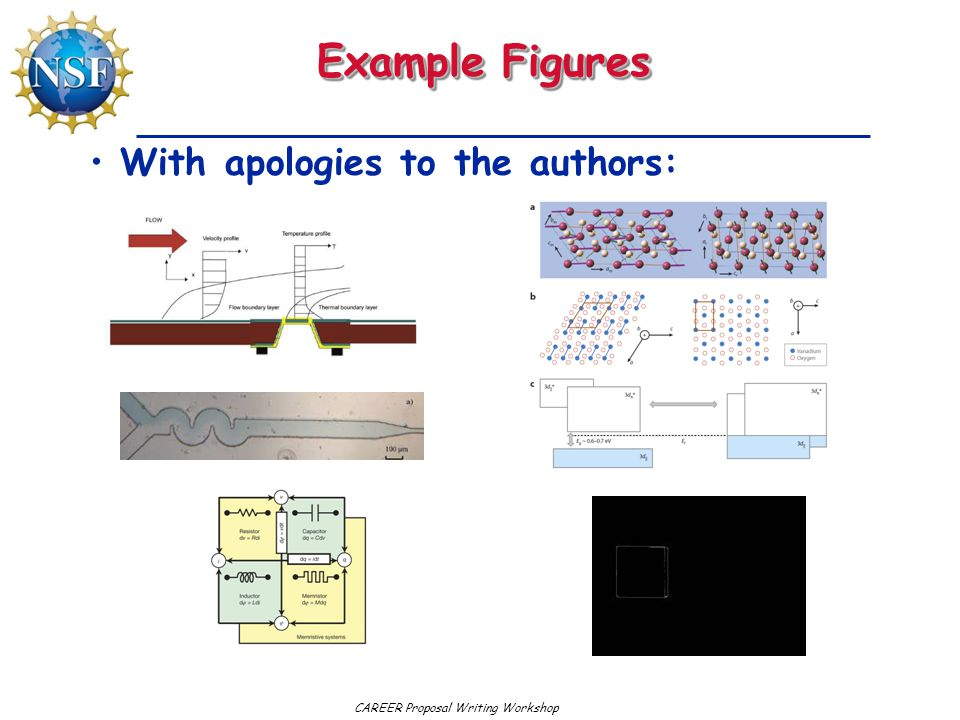 CAREER Proposal Writing Workshop Example Figures With apologies to the authors: