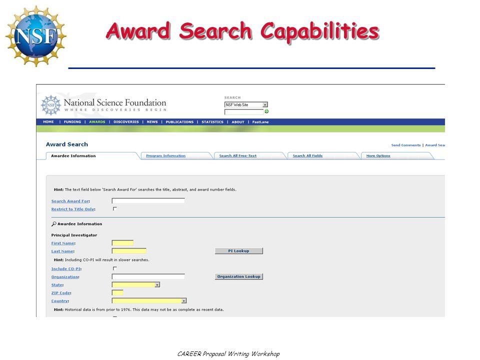 CAREER Proposal Writing Workshop Award Search Capabilities