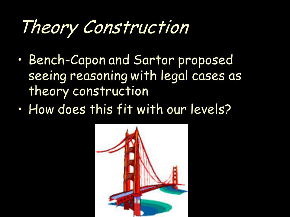 Theory Construction Bench-Capon and Sartor proposed seeing reasoning with legal cases as theory construction How does this fit with our levels