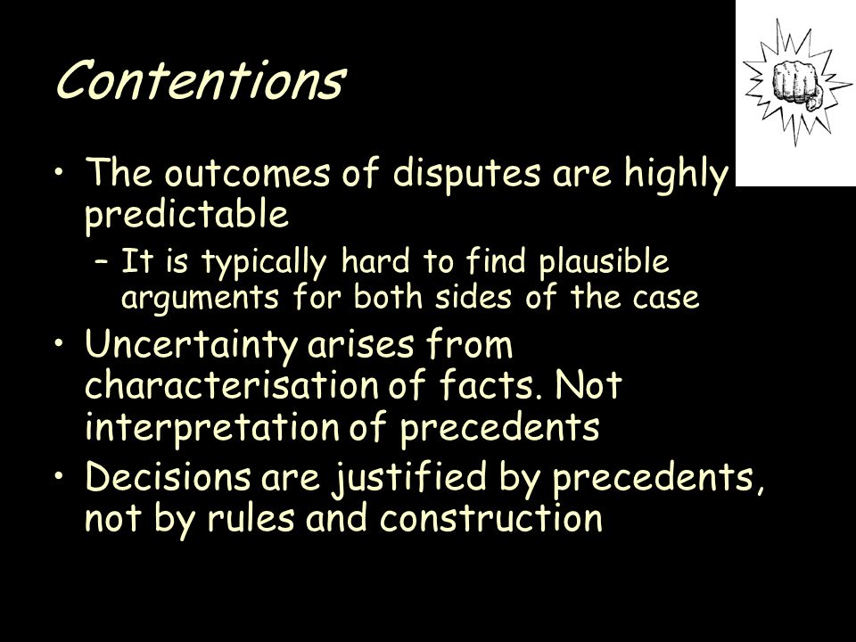 Contentions Judicial decisions are not frozen dialectic Decisions almost never make reference to purposes Factor based argumentation is rare So why does the practice theory not reflect the consensus theory?