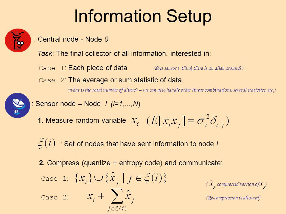 ( compressed version of ) Information Setup : Central node - Node 0 : Sensor node – Node i (i=1,...,N) Task: The final collector of all information, interested in: 1.