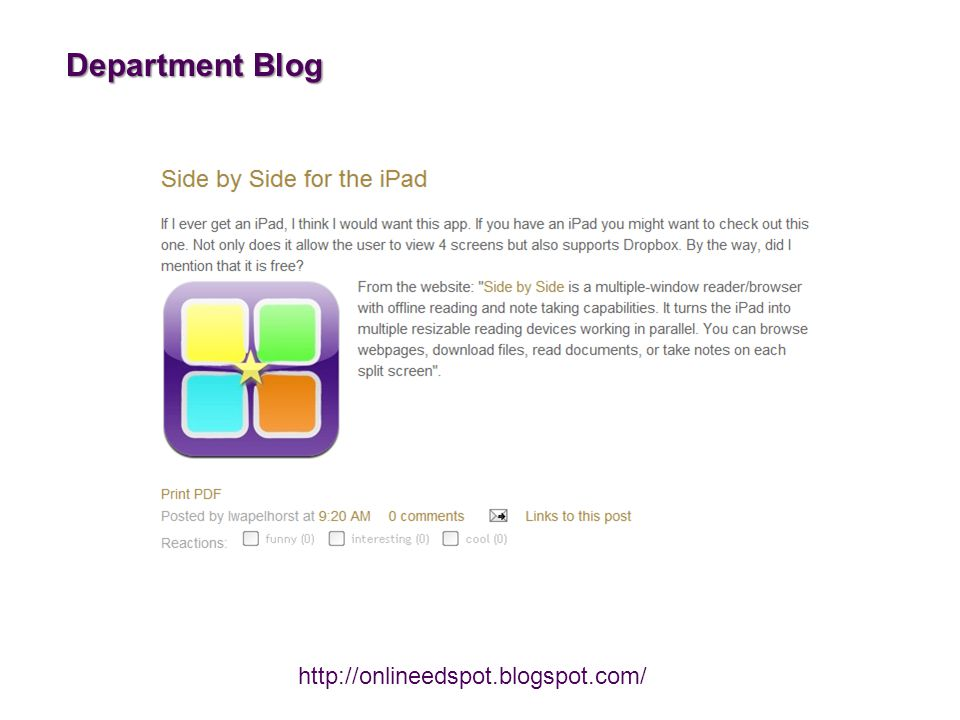Department Blog http://onlineedspot.blogspot.com/