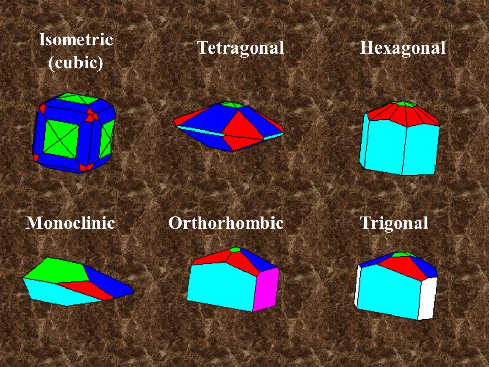 Isometric (cubic) Tetragonal Orthorhombic Hexagonal TrigonalMonoclinic