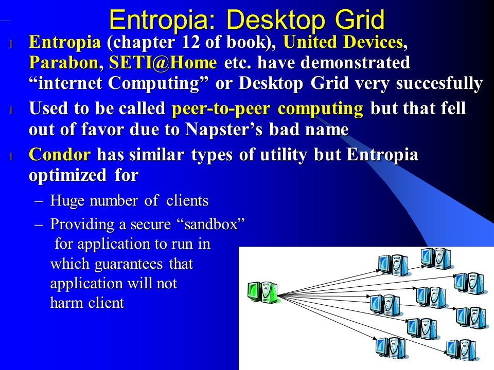 Entropia: Desktop Grid l Entropia (chapter 12 of book), United Devices, Parabon, SETI@Home etc.