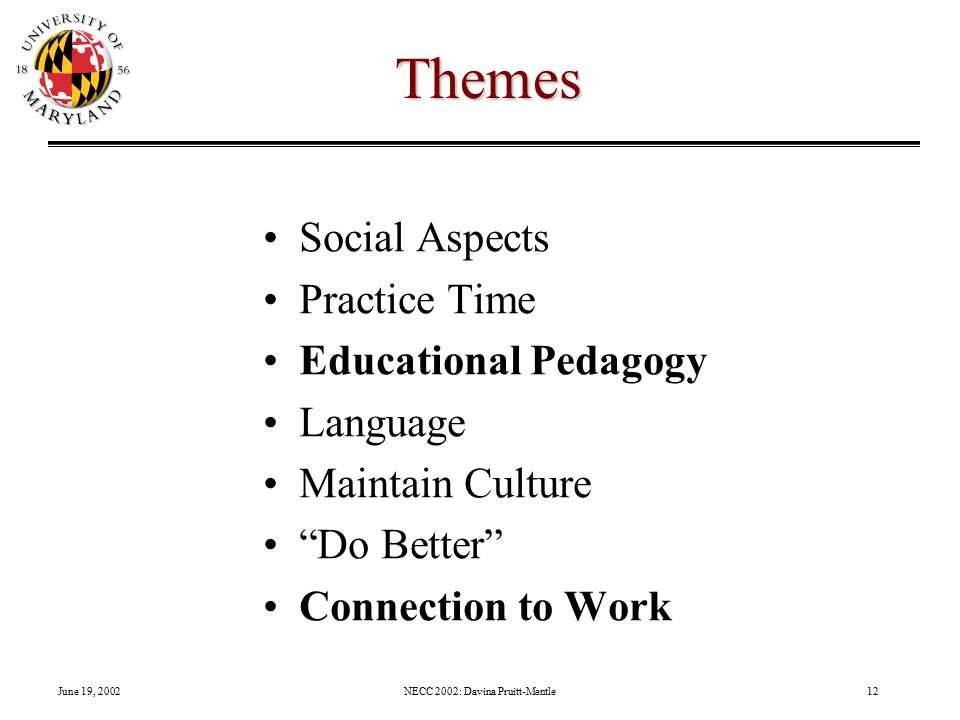June 19, 2002NECC 2002: Davina Pruitt-Mentle12 Themes Social Aspects Practice Time Educational Pedagogy Language Maintain Culture Do Better Connection to Work