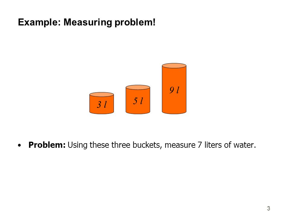 3 Example: Measuring problem! Problem: Using these three buckets, measure 7 liters of water. 3 l 5 l 9 l
