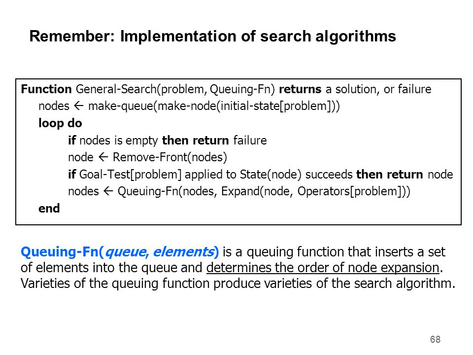 68 Remember: Implementation of search algorithms Function General-Search(problem, Queuing-Fn) returns a solution, or failure nodes  make-queue(make-n