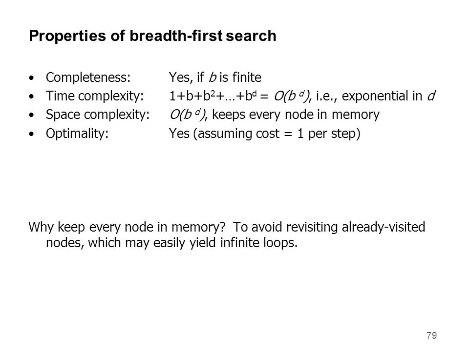 79 Properties of breadth-first search Completeness: Yes, if b is finite Time complexity:1+b+b 2 +…+b d = O(b d ), i.e., exponential in d Space complex