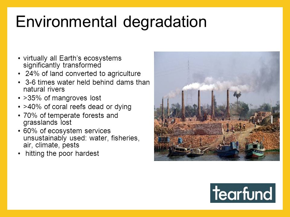 Environmental degradation virtually all Earth's ecosystems significantly transformed 24% of land converted to agriculture 3-6 times water held behind dams than natural rivers >35% of mangroves lost >40% of coral reefs dead or dying 70% of temperate forests and grasslands lost 60% of ecosystem services unsustainably used: water, fisheries, air, climate, pests hitting the poor hardest
