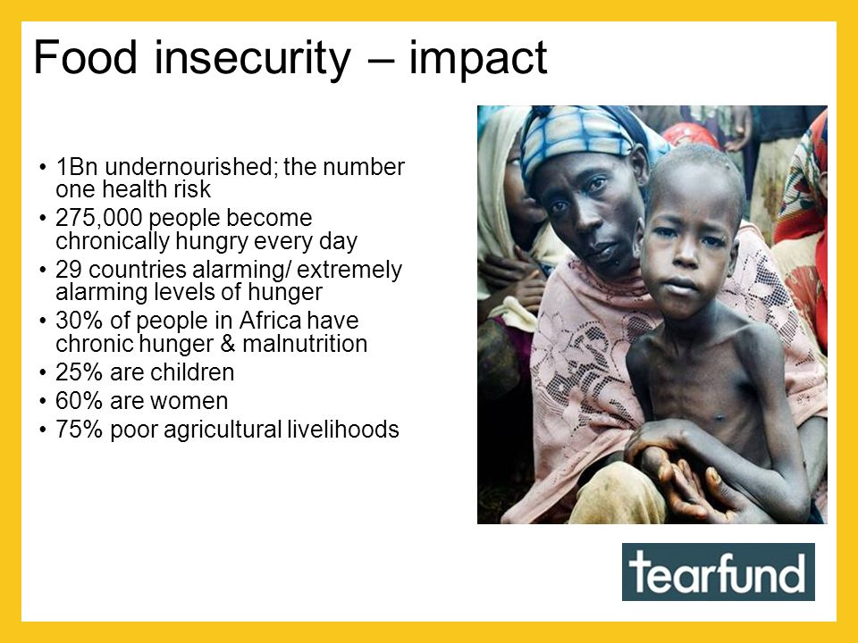 Food insecurity – impact 1Bn undernourished; the number one health risk 275,000 people become chronically hungry every day 29 countries alarming/ extremely alarming levels of hunger 30% of people in Africa have chronic hunger & malnutrition 25% are children 60% are women 75% poor agricultural livelihoods