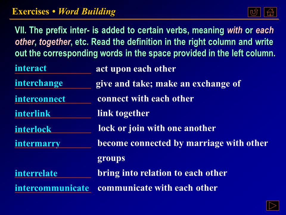 Ex. VII, p. 195 《读写教程 IV 》 : Ex. VII, p. 195 Exercises Word Building