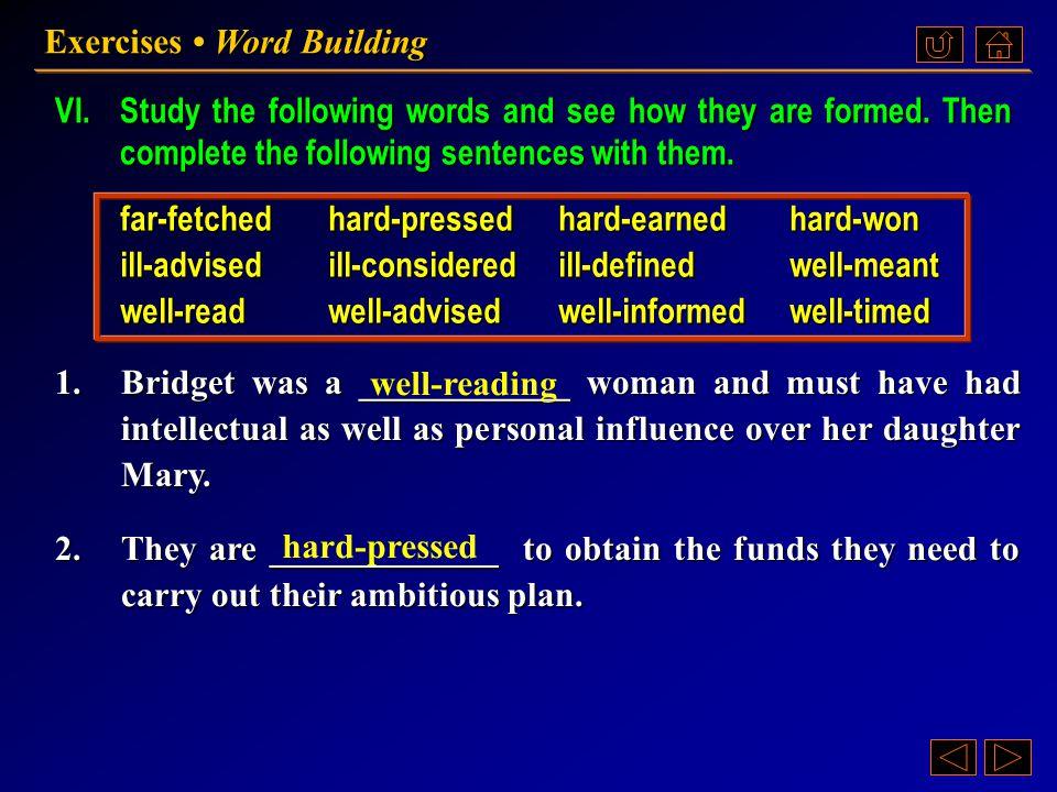 Ex. VI, p. 194 《读写教程 IV 》 : Ex. VI, p. 194 Exercises Word Building