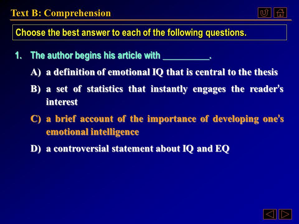 Text B: Comprehension Ex. XIV, p. 206 《读写教程 IV 》 : Ex. XIV, p. 206