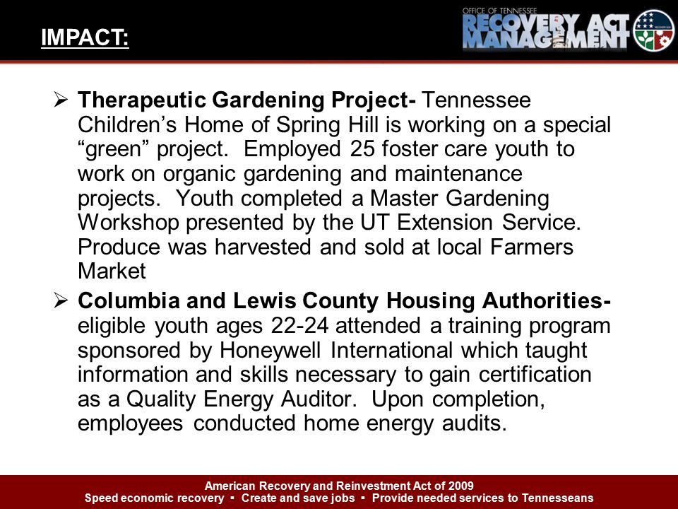  Therapeutic Gardening Project- Tennessee Children's Home of Spring Hill is working on a special green project.