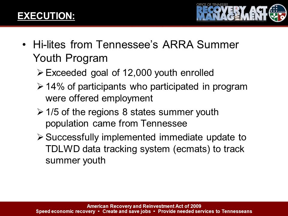 Hi-lites from Tennessee's ARRA Summer Youth Program  Exceeded goal of 12,000 youth enrolled  14% of participants who participated in program were of