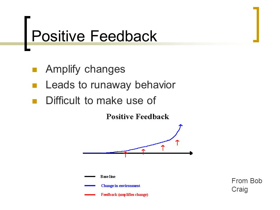 Positive Feedback Amplify changes Leads to runaway behavior Difficult to make use of From Bob Craig