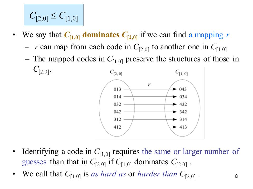 8 We say that C [1,0] dominates C [2,0] if we can find a mapping r – r can map from each code in C [2,0] to another one in C [1,0] –The mapped codes i