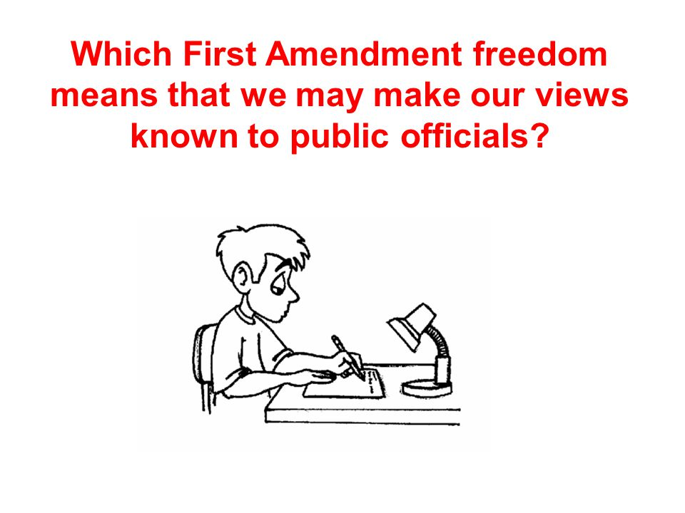 Which First Amendment freedom means that we may make our views known to public officials?