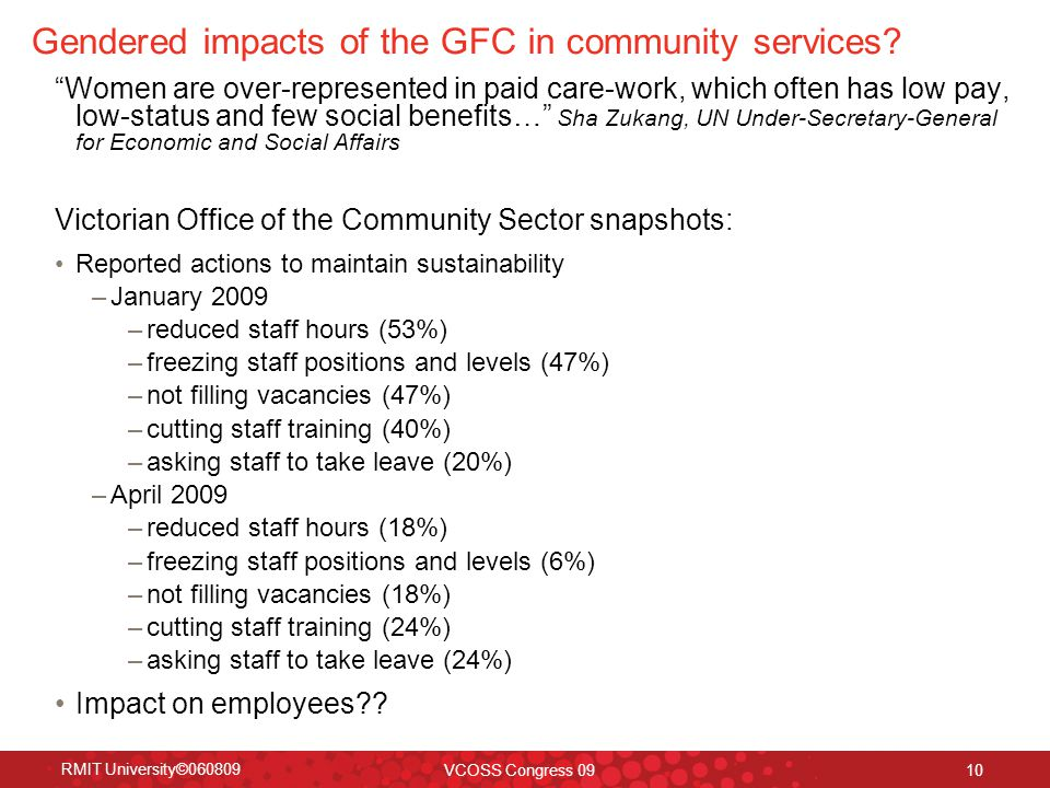 "RMIT University©060809 VCOSS Congress 09 10 Gendered impacts of the GFC in community services? ""Women are over-represented in paid care-work, which of"
