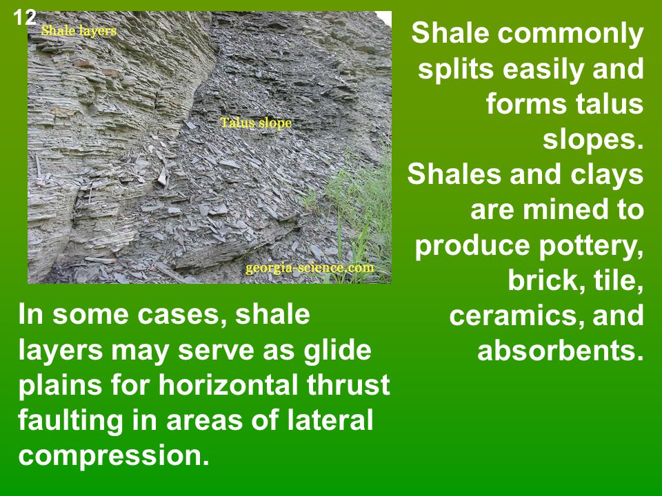 Shale commonly splits easily and forms talus slopes. Shales and clays are mined to produce pottery, brick, tile, ceramics, and absorbents. In some cas